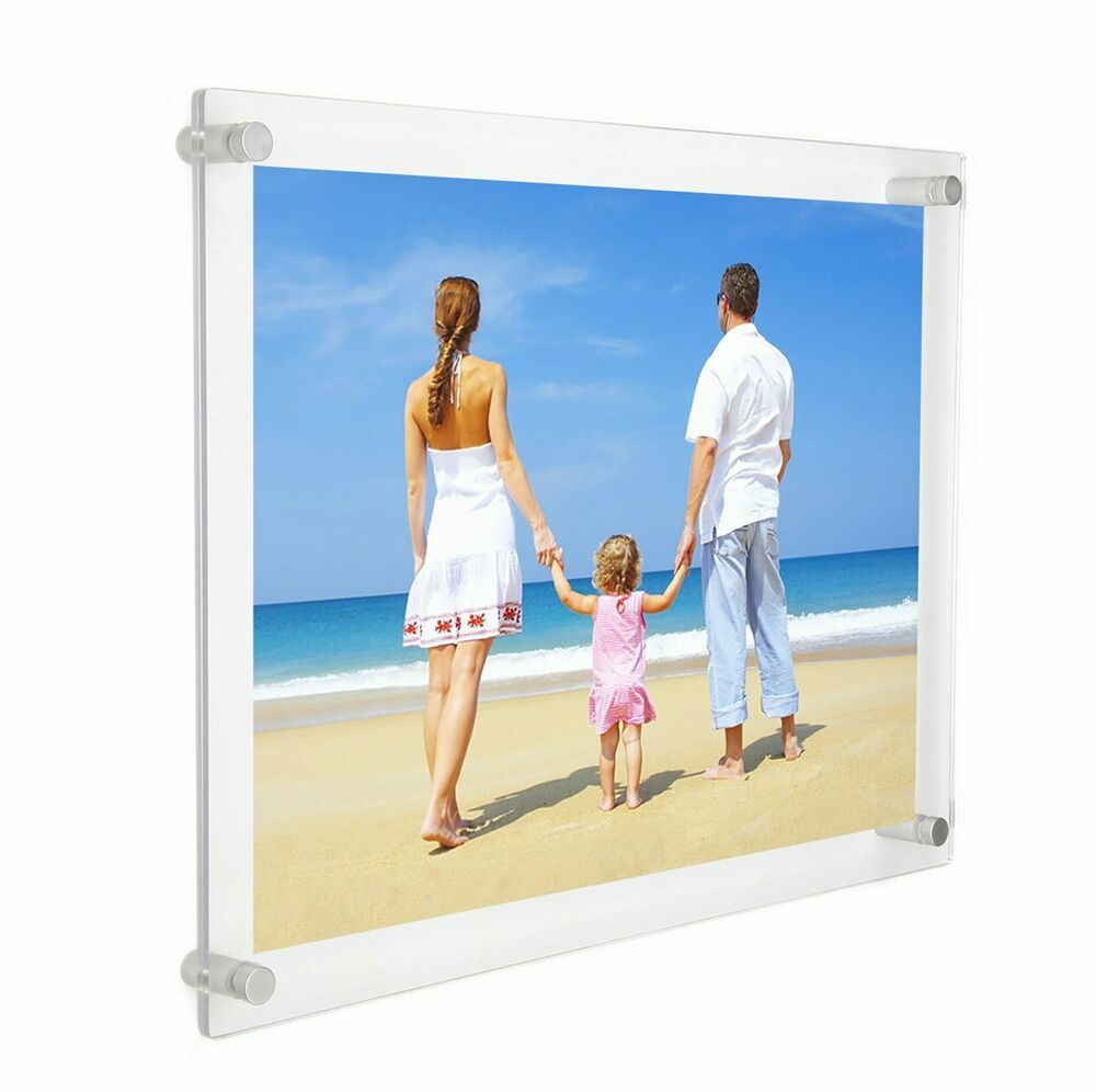 Niubee 11x14 Clear Acrylic Wall Mount Floating Frameless Picture Frame For De Fashion Frameless Picture Frames Floating Picture Frames Framing Photography