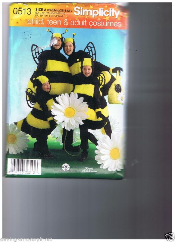 Simplicity 0513 all sizes bee costume his hers kids | Pinterest