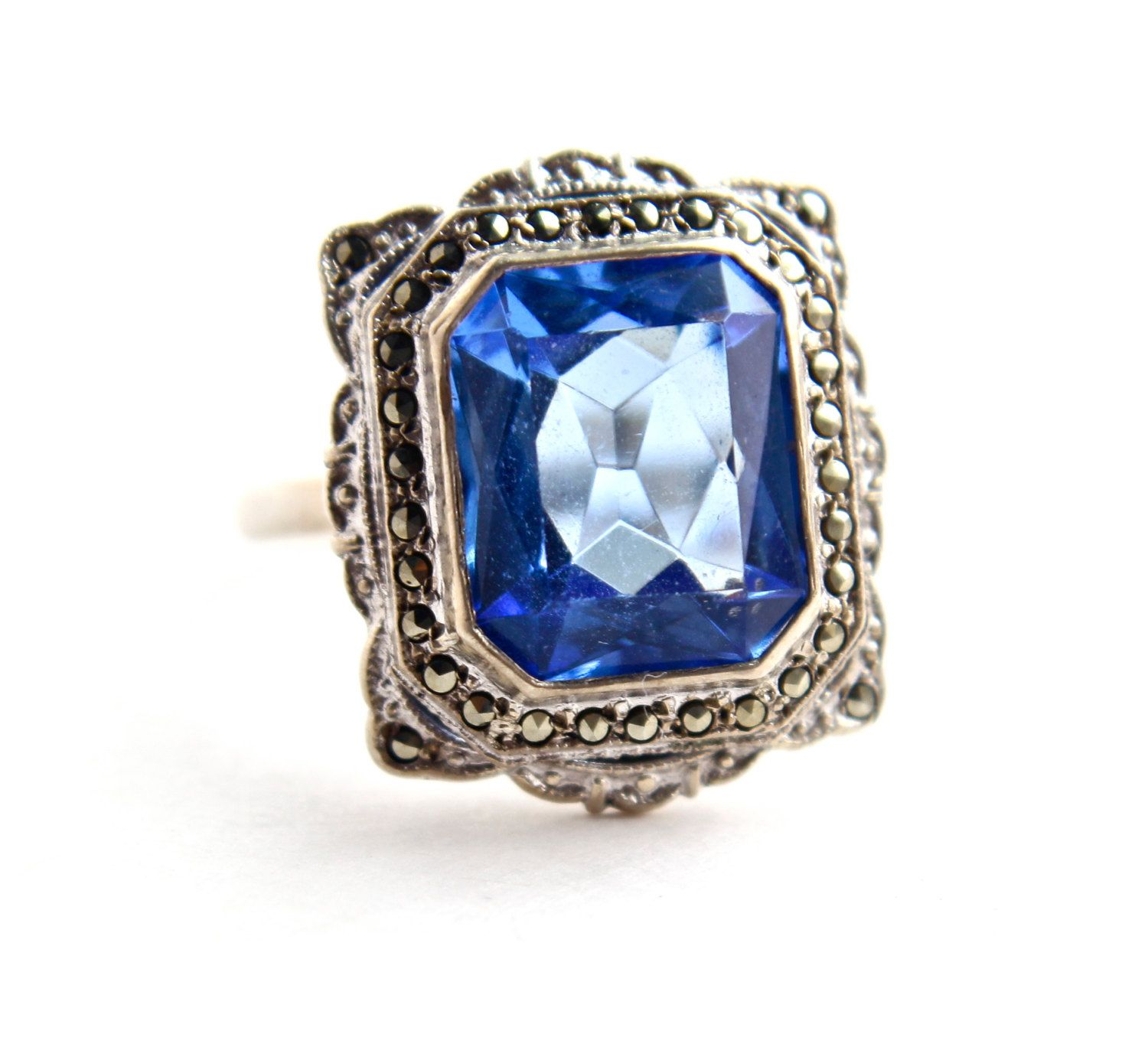 antique jewelry Art deco 1920 silver ring beautiful topaz and marcasite ring vintage hand crafted ring