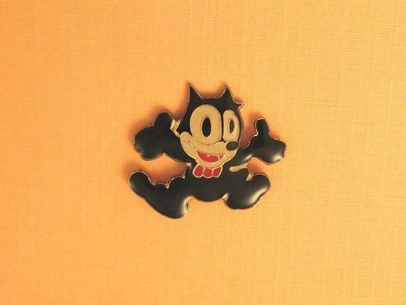 Vintage Enamel Pin, Felix the Cat Pin, Lapel Pin, Cartoon Cat Pin