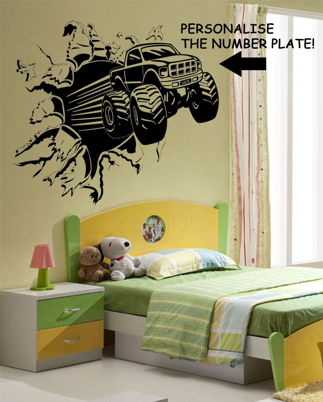 Childrens Personalised Blasting Monster Truck Wall Art Sticker WA300 ...
