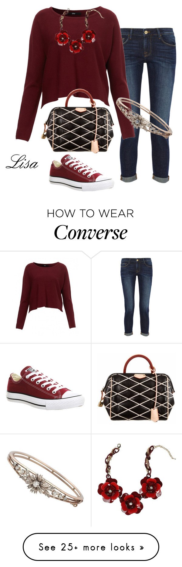 """Amber"" by coolmommy44 on Polyvore featuring moda, Frame Denim, Converse, Louis Vuitton y Bebe"