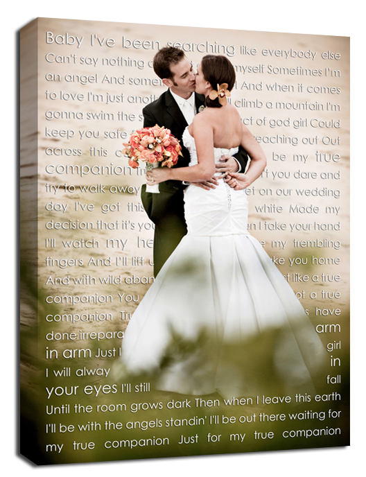 Cyber Monday Wedding Sign Canvas Art Personalized Your Photo And Words Custom Vows Lyrics Anniversary Gift Inches