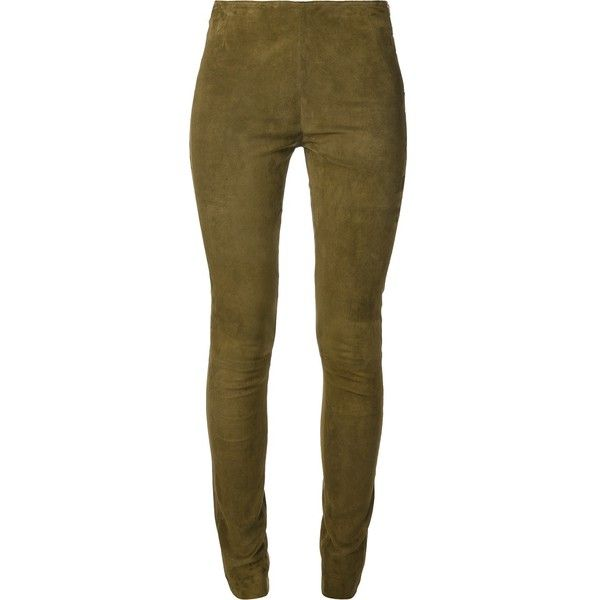 MIH JEANS skinny trouser (€940) ❤ liked on Polyvore featuring pants, skinny fit pants, skinny pants, brown pants, side zip pants and suede pants