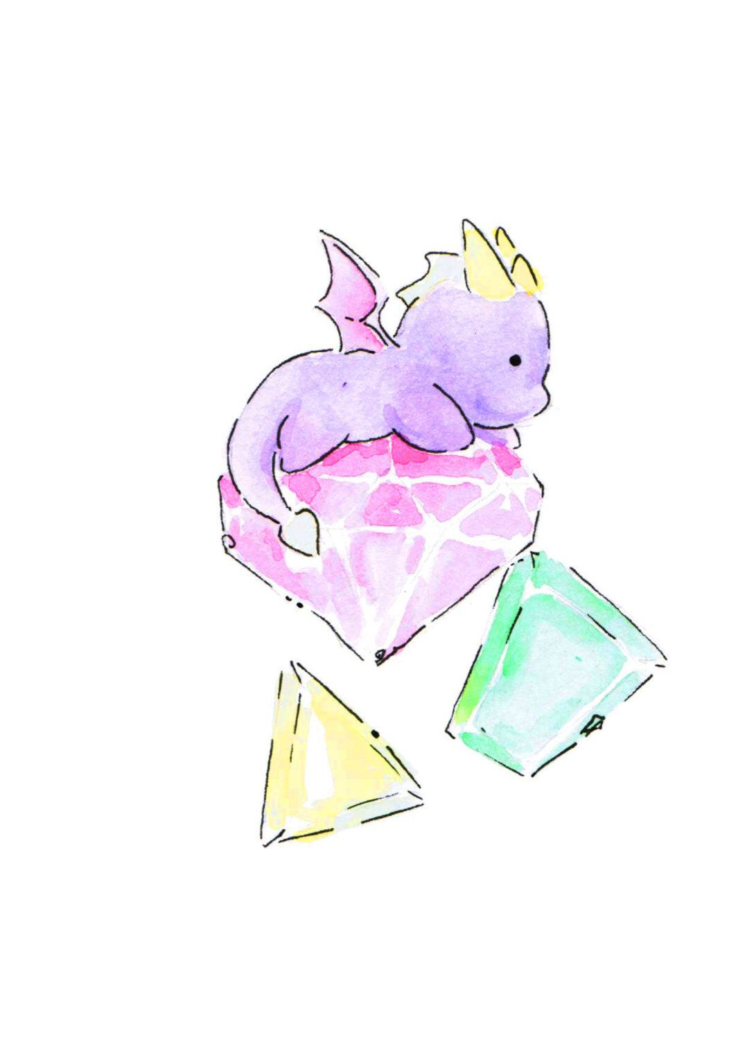 Spyro the dragon watercolor art print by lynswatercolors for Cute watercolor paintings