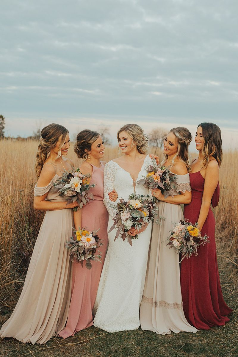 Mismatched Bridesmaids Burgundy And Taupe Bridesmaids Miss Ruby Boutique In Milwaukee Photo Fall Bridesmaid Dresses Wedding Bridesmaid Dresses Bridesmaid