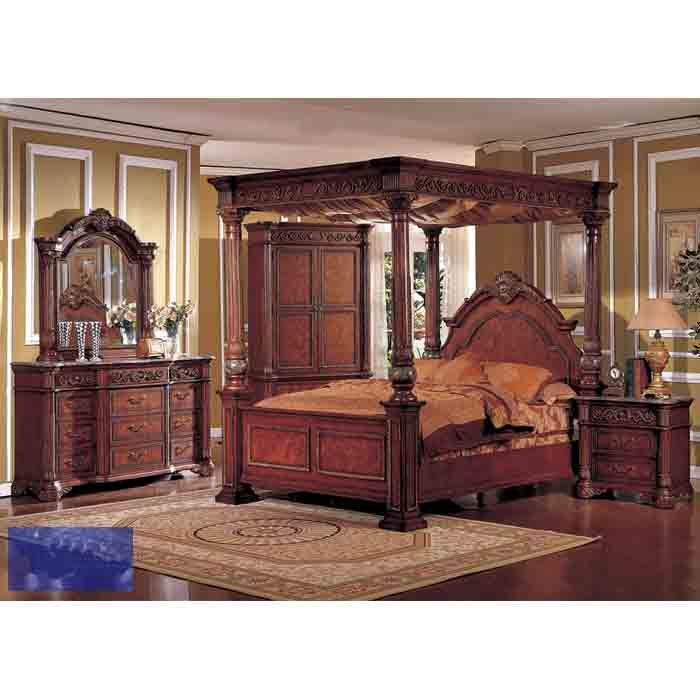 Traditional Cherry Wood King Poster Canopy Bedroom Set With Marble Top Wendy Furniture Canopy Bedroom Sets Master Bedroom Set Bedroom Sets