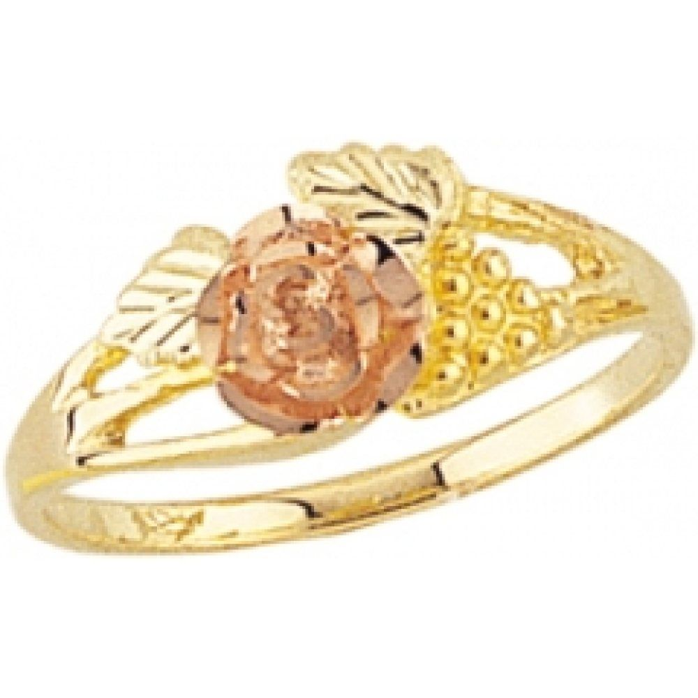 Ladies Black Hills Gold Rose Ring With Leaves Grapes In 10k Yellow Gold G 1100 Black Hills Gold Jewelry Black Hills Gold Silver Rose Ring