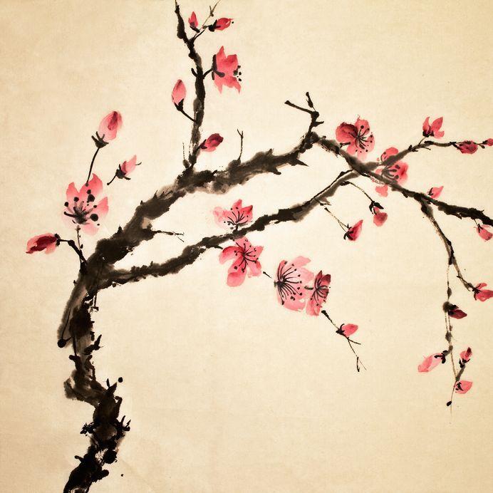 estampe japonaise arbre fleurs estampe peinture. Black Bedroom Furniture Sets. Home Design Ideas