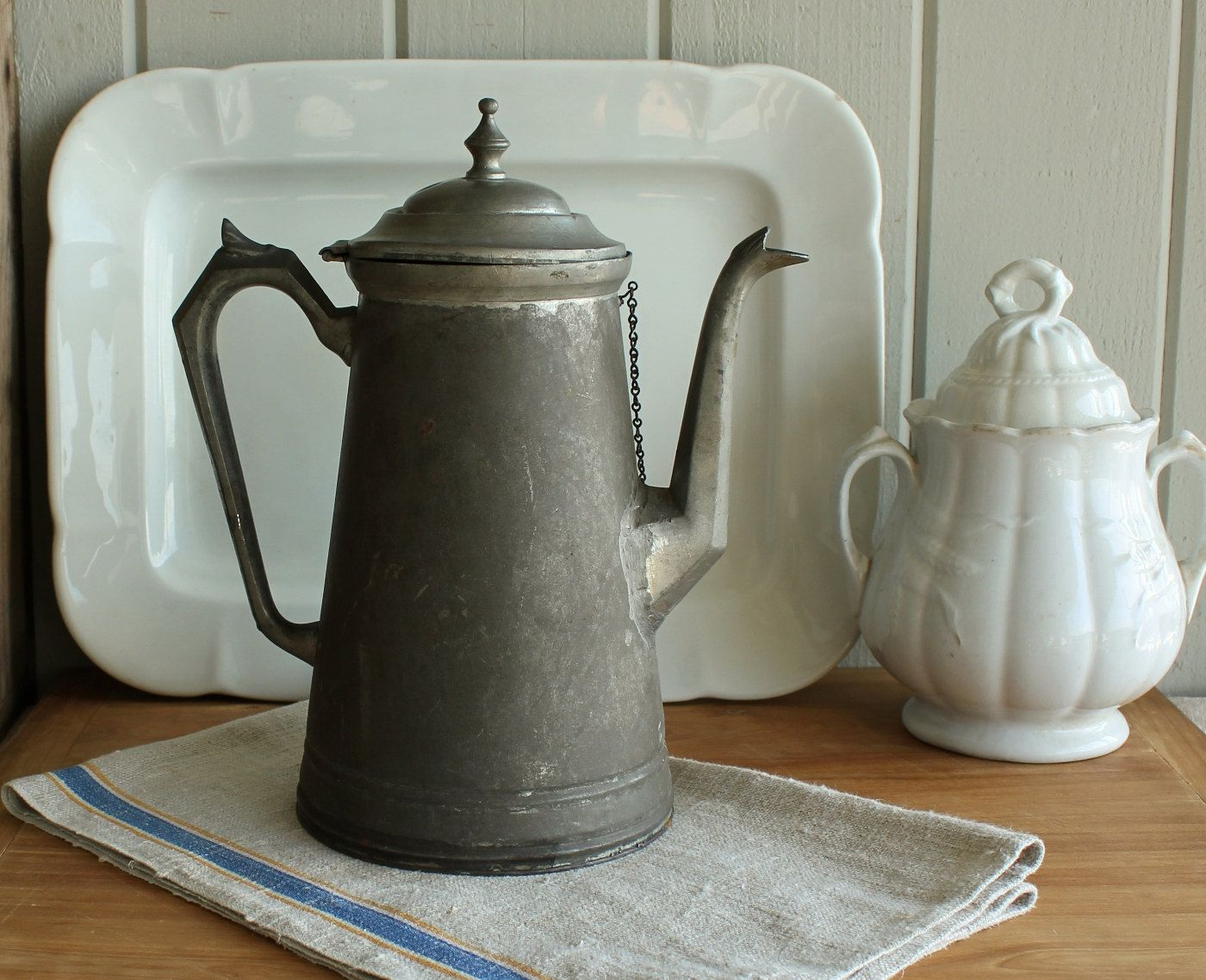 Antique Farmhouse Tin Coffee Pot. 98.00, via Etsy