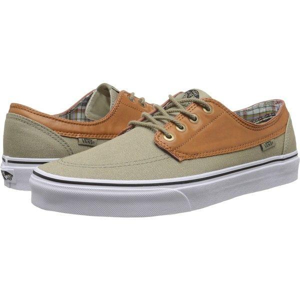 Vans Brigata Dress Blues/True White) Skate Shoes, Green ($26) ❤