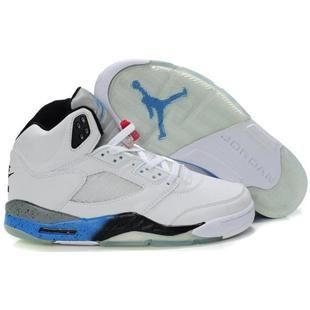 133b0083f7963 Discount White-BlackTrue Blue Cement Air Jordan 5 (V) Fashion Shoes Store