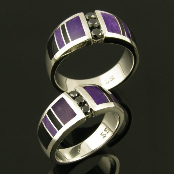 Black Diamond Wedding Ring Set With Sugilite And Onyx Inlaid In Sterling Silver