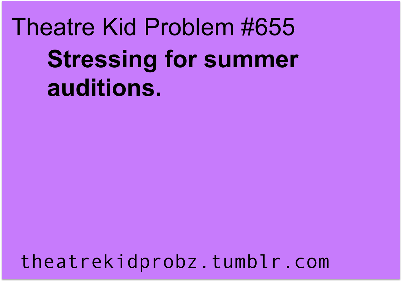 I now have NINE auditions coming up in the next...
