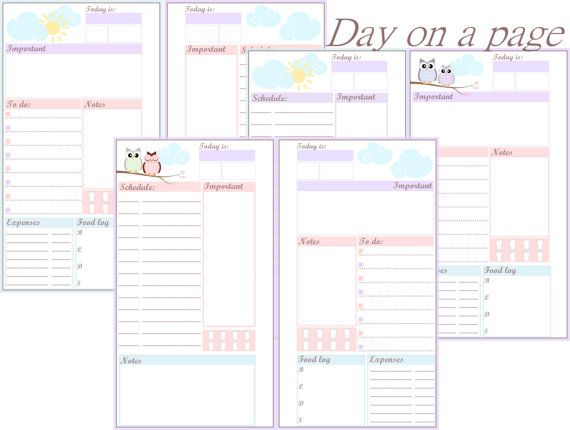 Day on a Page in 2 Layouts - Filofax Personal - includes To do - list of expenses