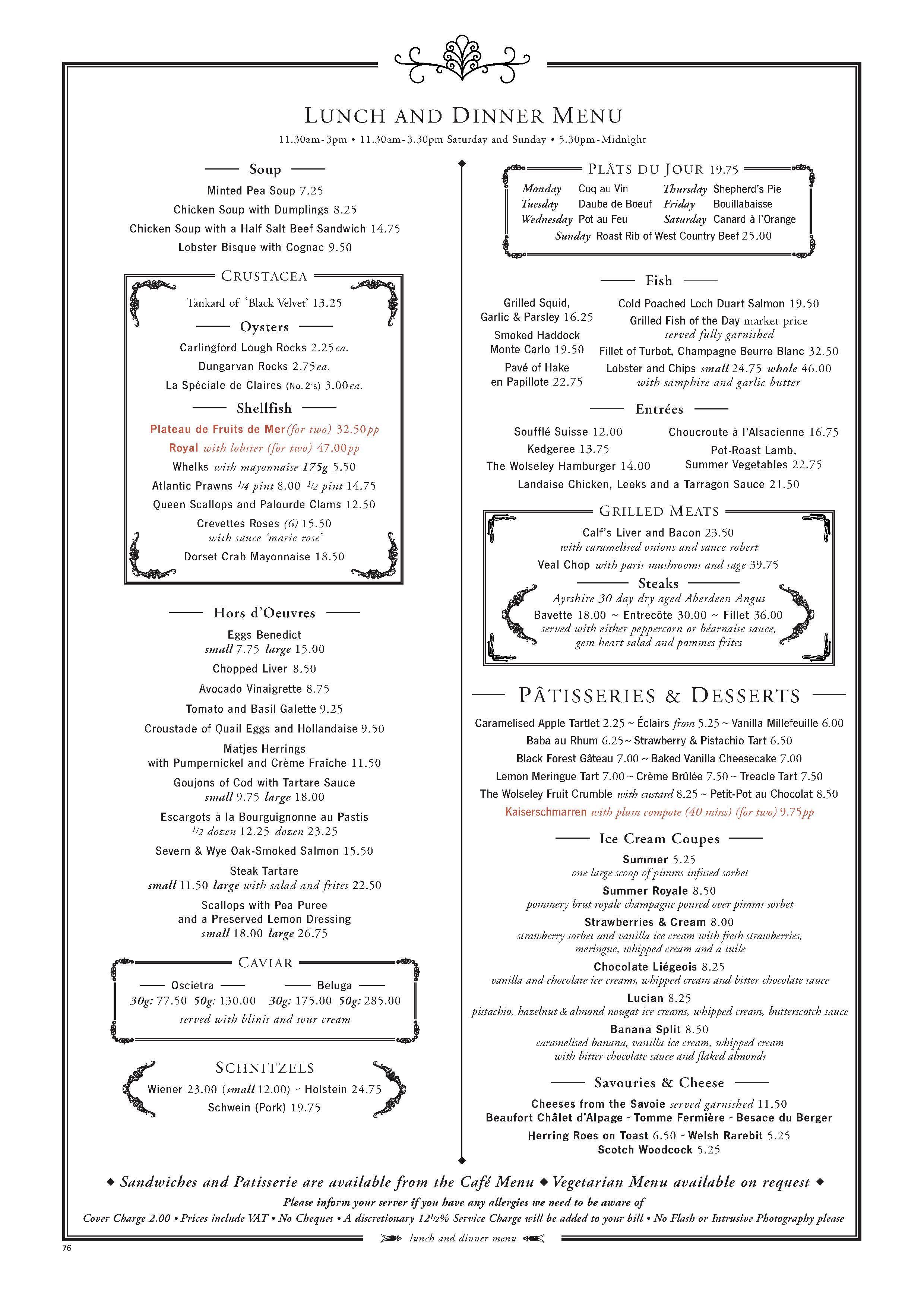 The Wolseley Mayfair Restaurant Menu Design Restaurant Menu