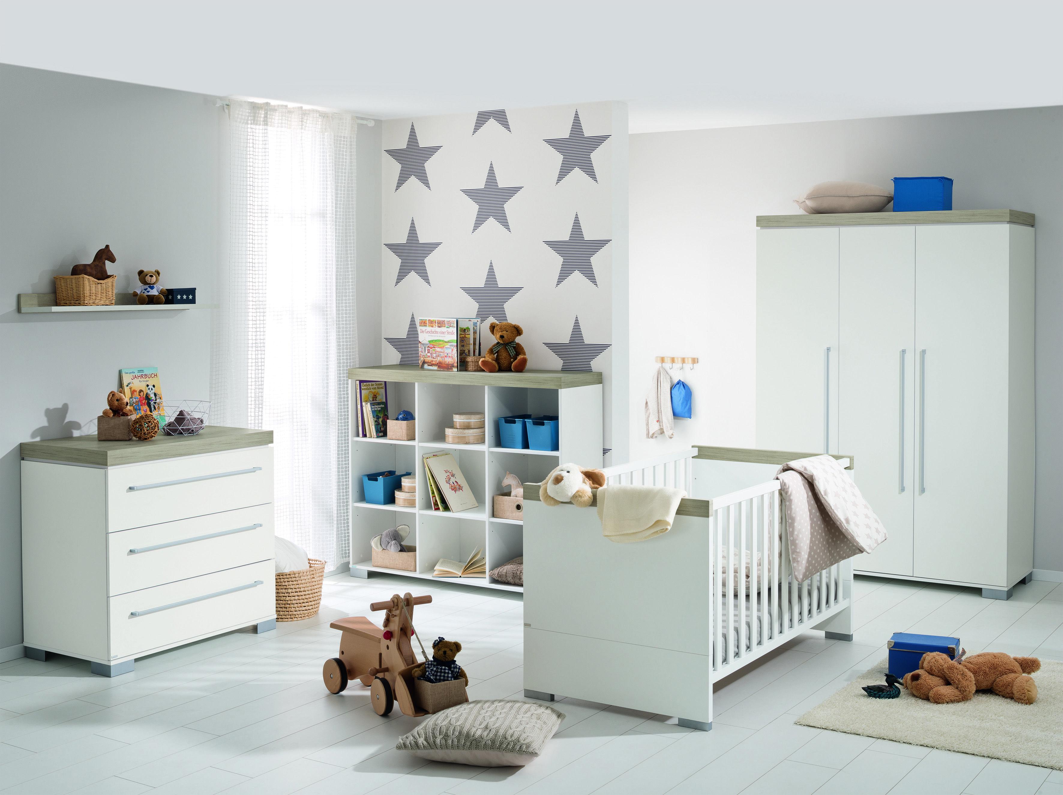 PAIDI KIRA   Elegantes Babyzimmer Design Mit Klaren Linien In Kreideweiß /  Eiche Nautik Nachbildung