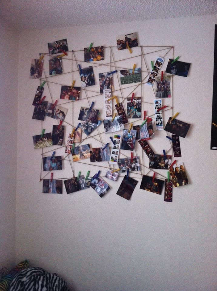 Photo Web All You Need Is Twine Clothes Pins And Thumb Tacks Which Are All Found At A 99 Cent Store I Diy Arts And Crafts Hanging Pictures Photo Decor