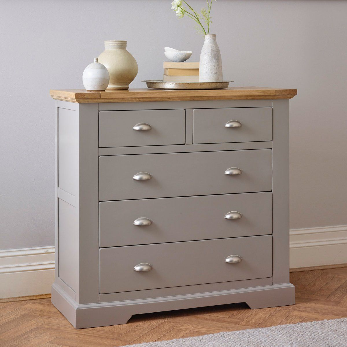 Grey Chest of Drawers  St Ives  Oak Furnitureland  Painted