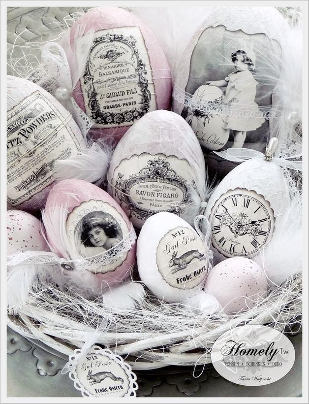 nostalgie korb rosa wei e wielkanoc ostern ostern eier i ostern deko. Black Bedroom Furniture Sets. Home Design Ideas