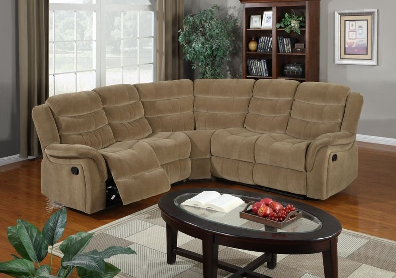 Saddle Brown Plush Microfiber Reclining Sectional Sofa Couch