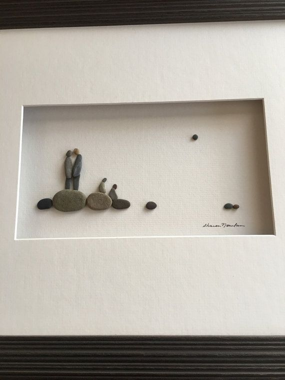 Family Of 4 Pebble Art By Sharon Nowlan 12 By 16 Pebble Art