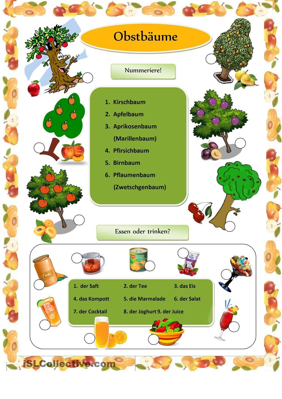 Obstbäume | DAZ | Pinterest | German, German language and Deutsch