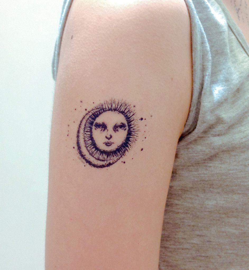 Sun moon temporary tattoo sticker for Non ducor duco tattoos designs
