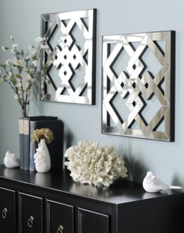 Geometric Mirror Plaque Set Of 2 Kirklands Geometric Mirror Mirror Wall Decor Decor
