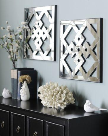 Geometric Mirror Plaque Set Of 2 Kirklands Mirror Wall Decor Decor Geometric Mirror