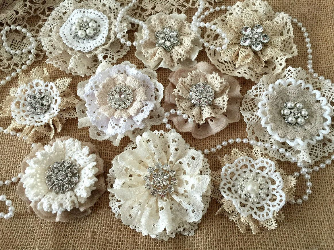 Shabby chic crafts to make - 10 Burlap And Lace Handmade Flowers With Metal Rhinestone Pearl Buttons Wedding Cake Bridal Bouquets Headbands