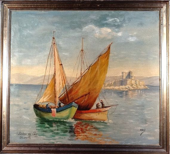 Stunning ca.1900 French School Seascape Impressionist Painting Oil/Canvas/Frame Signed $949.00