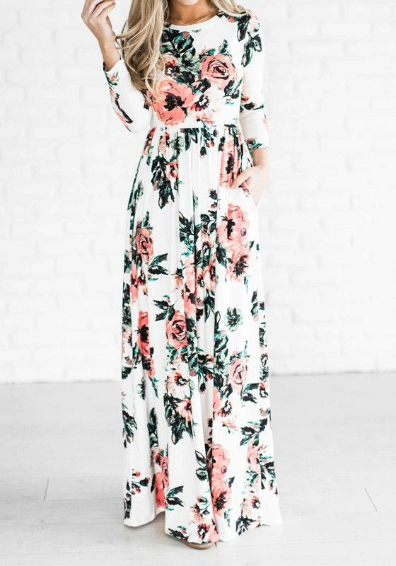 White floral draped round neck long sleeve bohemian maxi dress ladies party dresses summer dresses