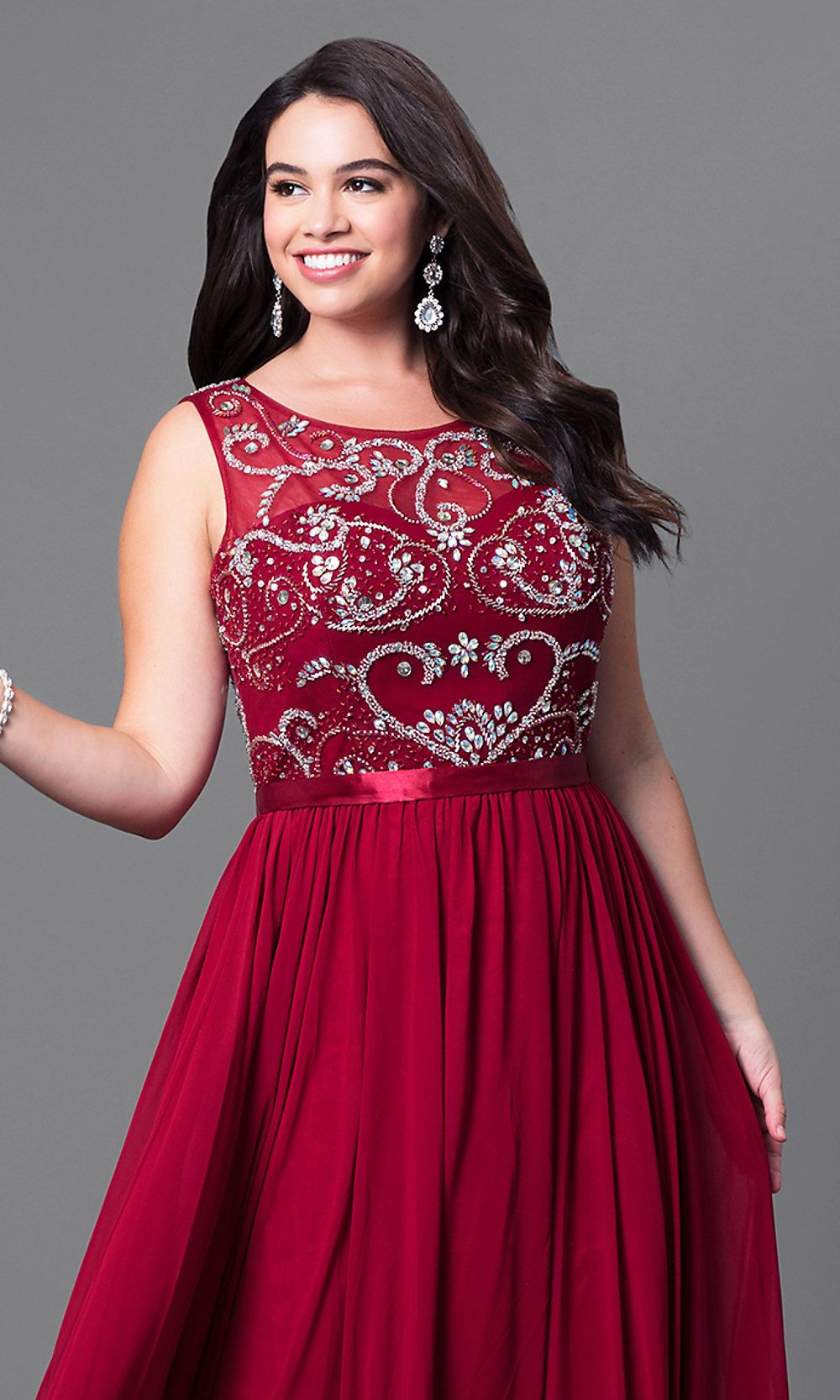 17eea777594e79 Jeweled Illusion Plus-Size Prom Dress - PromGirl. Beaded-Bodice ...