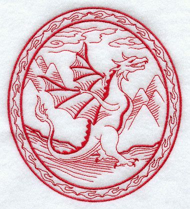 The Dragon and His Wrath  Embroidered by forgetmeknottreasure