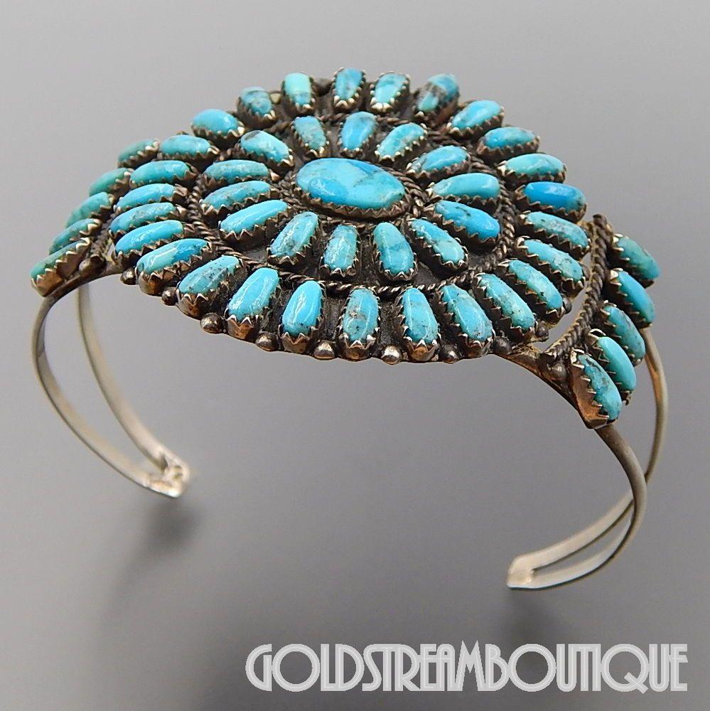 December Birthstone Cluster Native American Handmade Bracelet Sterling Silver Stamped #266 Turquoise Cuff Bracelet Navajo Signed