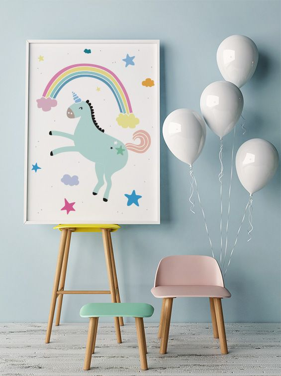 Free Printable For Kids Bedroom Playroom Unicorn Rainbow Poster With Love From 9instyle Magazine Colorful Kids Room Room Posters Rainbow Room