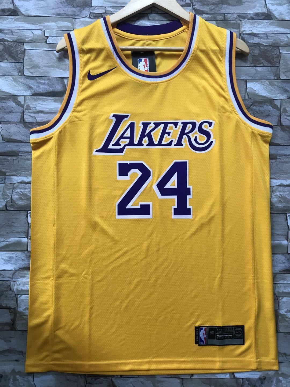 New Men 24 Kobe Bryant Jersey Yellow Los Angeles Lakers Swingman ...
