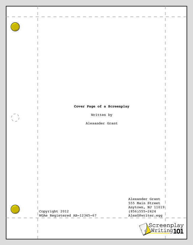 Cover Page  Screenplay Format    Films