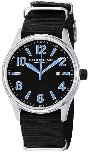 Stuhrling Original Mens 406A331OB51 Leisure Eagle Nighthawk Swiss Quartz Date  Black Canvas Strap Watch     More info could be found at the image url. 8671fa20835