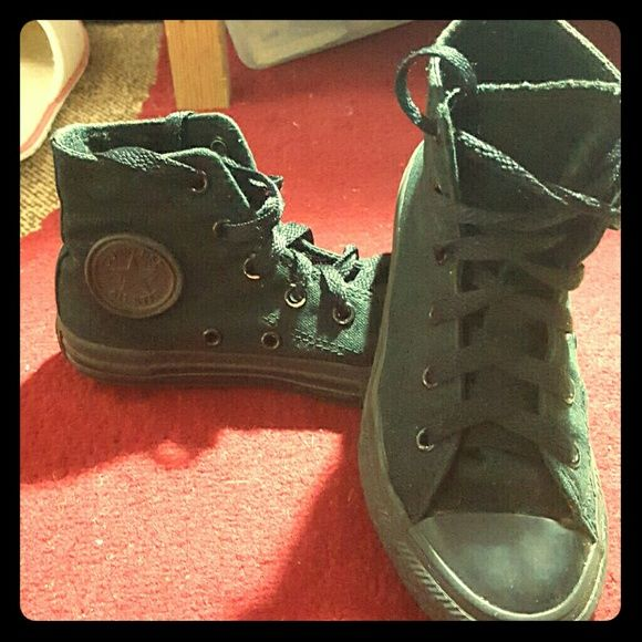 Converse shoes All Black Converse high-tops. Worn only 3 times. My daughter just very quickly grew out of them over night. Converse Shoes Sneakers