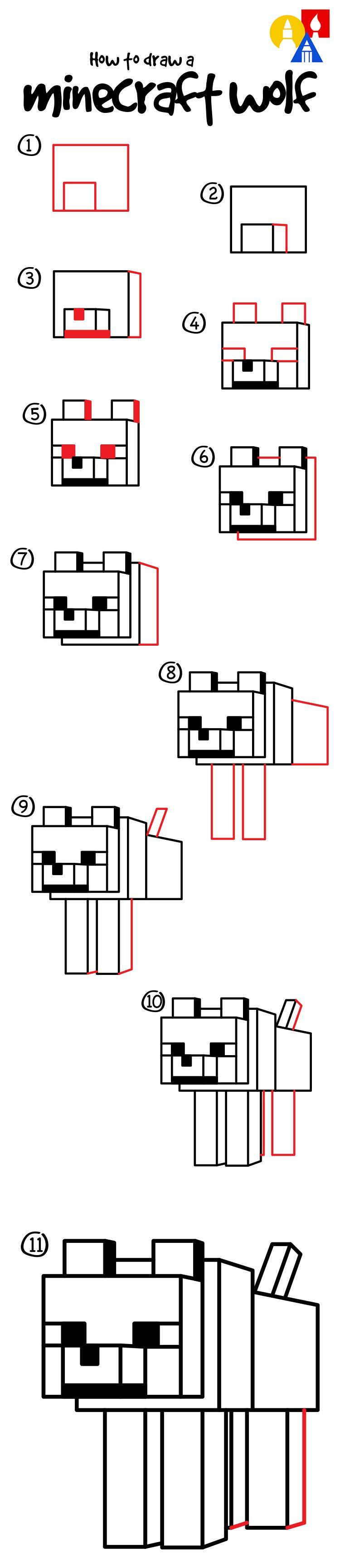 How To Draw A Minecraft Wolf Dog Art For Kids Hub Minecraft - Minecraft hauser zeichnen