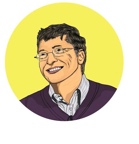 Portrait Of Bill Gates Cartoon Art Vector Art Art