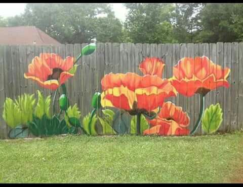 poppies on an fence crafts pinterest fences gardens and