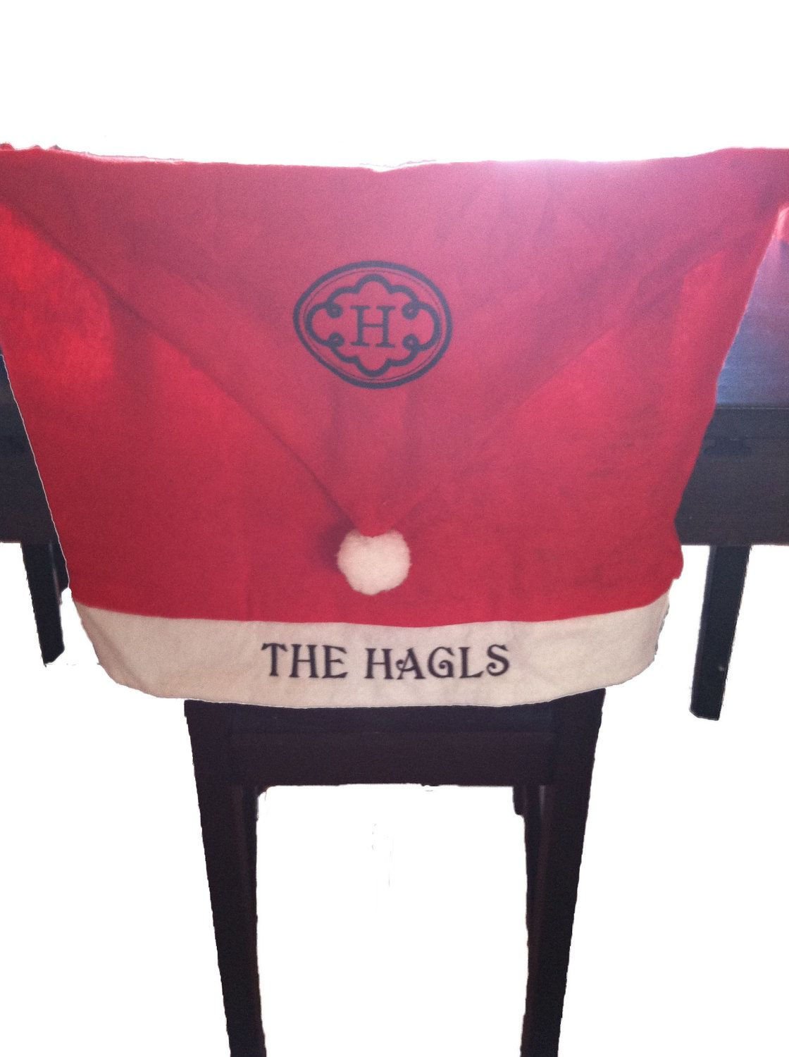 Marvelous Personalized Monogrammed Santa Hat Chair Cover Christmas Squirreltailoven Fun Painted Chair Ideas Images Squirreltailovenorg