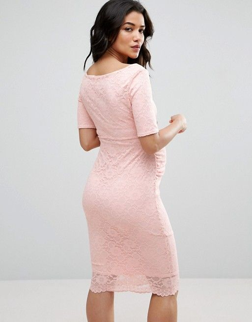 75998425d262 ASOS Maternity PETITE Bardot Dress with Half Sleeve in Lace ...