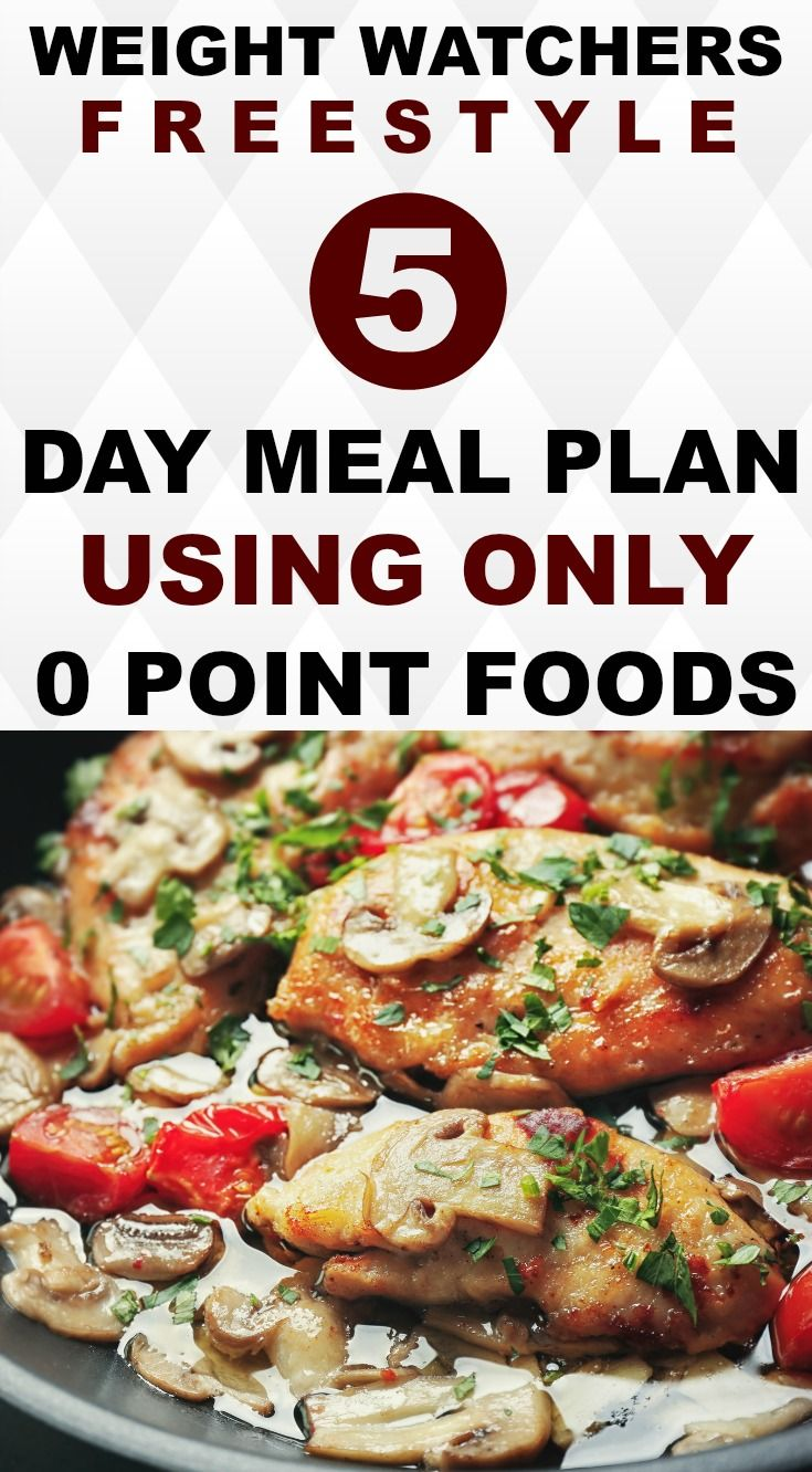 Here is a 5 Day healthy meal plan perfect for those following Weight Watchers Freestyle. There are 18 printable 0 Point Recipes geared for weight loss success.  Recipes include: Chicken Marsala, Bananarama Pancakes, Greek Eggs & Ham and more! #ww #weightwatchers #freestyle #healthy #healthyrecipes #mealplan #mealplanning #lowcarb