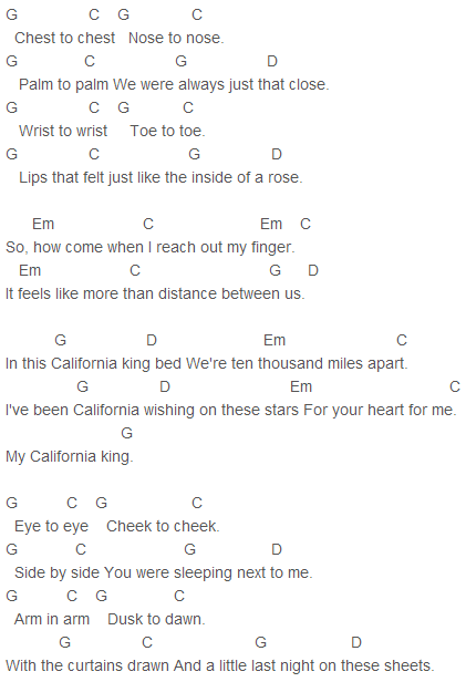 Rihanna   California King Bed Chords