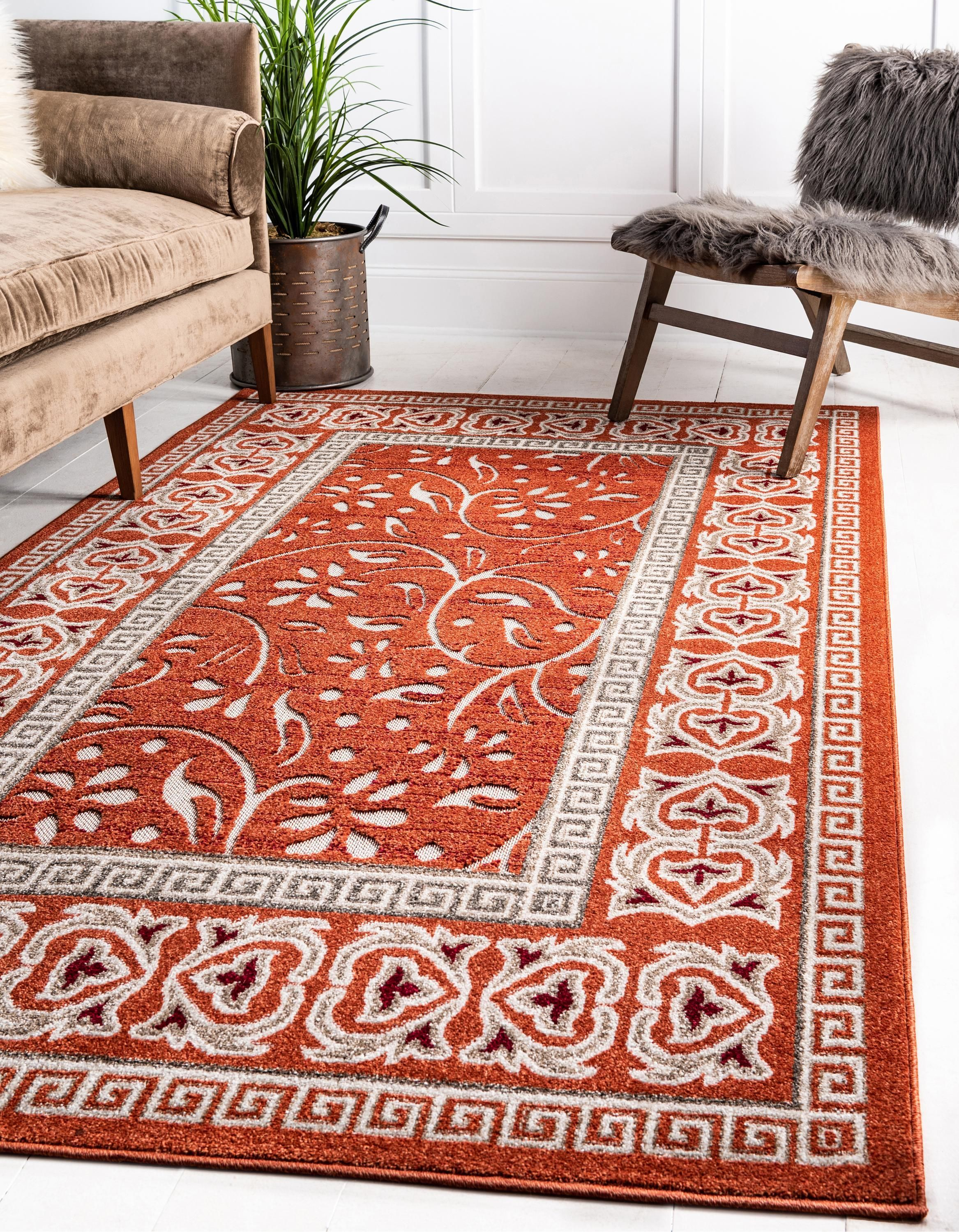 Rust Red 5 X 8 Outdoor Botanical Rug Affiliate Red Rust