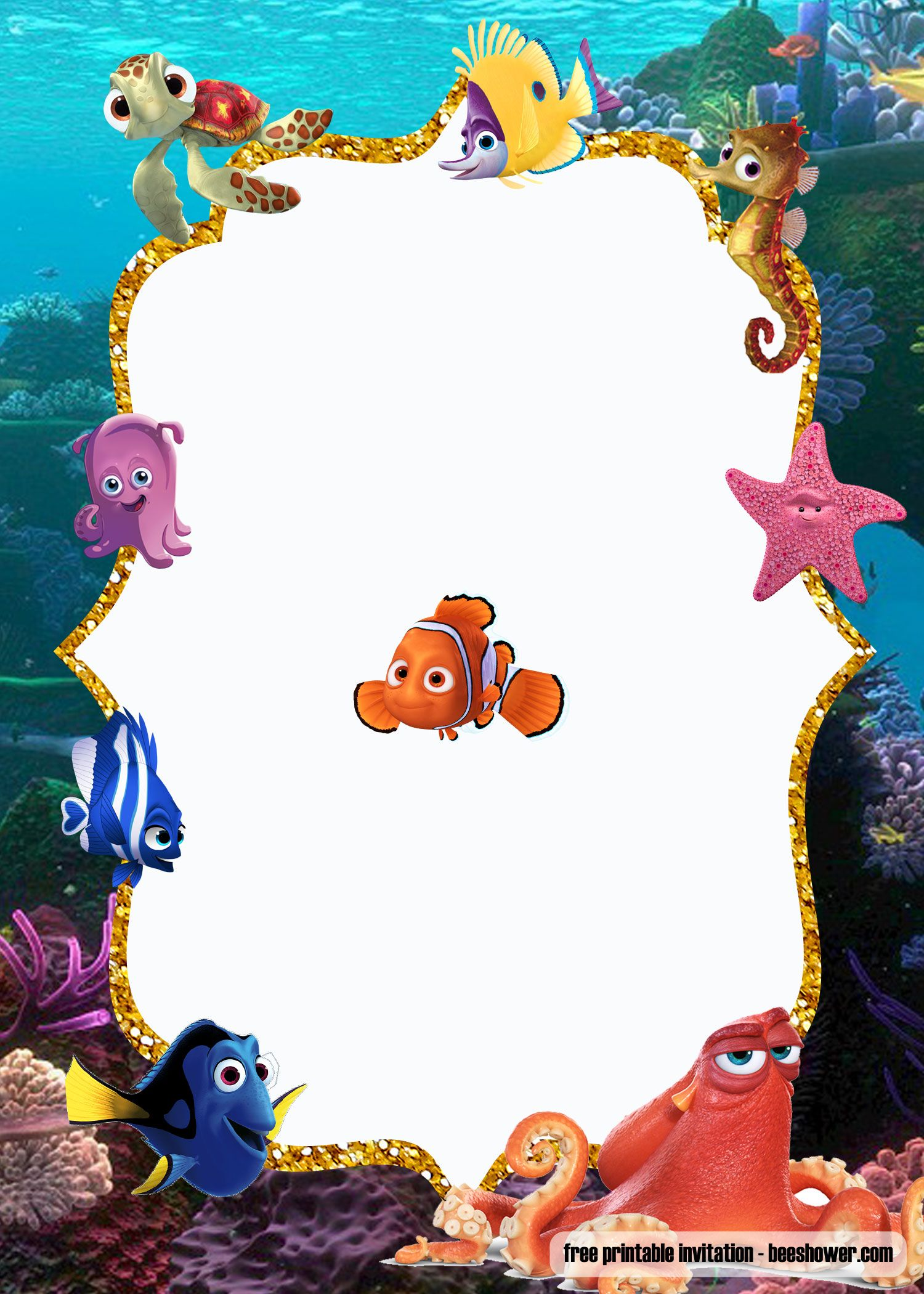 Get Free Under The Sea Baby Shower Invitations Templates Printable Baby Shower Invitations Free Printable Baby Shower Invitations Finding Nemo Baby Shower